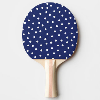 Navy Blue and White Confetti Dots Pattern Ping Pong Paddle