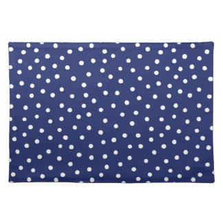 Navy Blue and White Confetti Dots Pattern Placemat