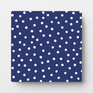 Navy Blue and White Confetti Dots Pattern Plaque
