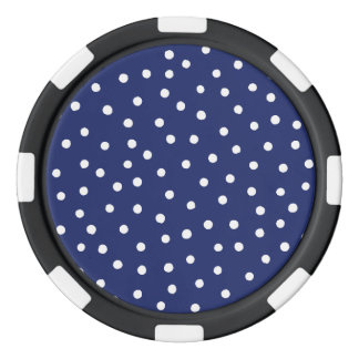 Navy Blue and White Confetti Dots Pattern Poker Chips