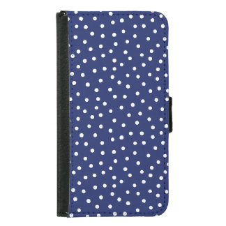 Navy Blue and White Confetti Dots Pattern Samsung Galaxy S5 Wallet Case