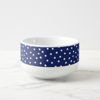 Navy Blue and White Confetti Dots Pattern Soup Mug