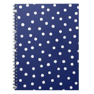 Navy Blue and White Confetti Dots Pattern Spiral Notebook