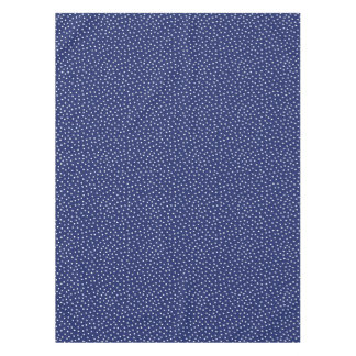 Navy Blue and White Confetti Dots Pattern Tablecloth