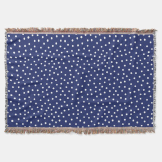 Navy Blue and White Confetti Dots Pattern Throw