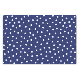 Navy Blue and White Confetti Dots Pattern Tissue Paper