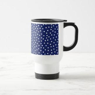Navy Blue and White Confetti Dots Pattern Travel Mug