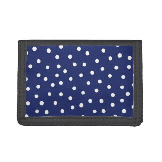Navy Blue and White Confetti Dots Pattern Tri-fold Wallets