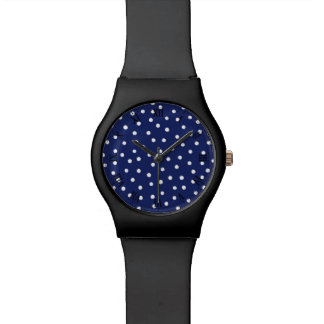 Navy Blue and White Confetti Dots Pattern Watch
