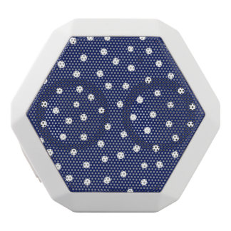 Navy Blue and White Confetti Dots Pattern White Bluetooth Speaker