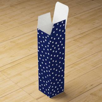 Navy Blue and White Confetti Dots Pattern Wine Gift Box