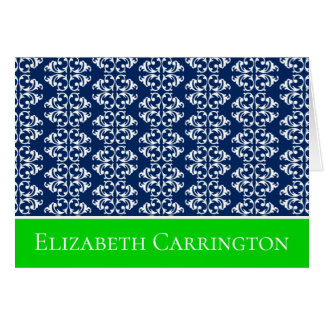 Navy Blue and White Damask Stripes With Green Card