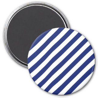 Navy Blue and White Diagonal Stripes Pattern 3 Inch Round Magnet