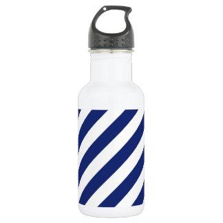 Navy Blue and White Diagonal Stripes Pattern 532 Ml Water Bottle