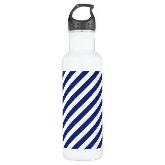 Navy Blue and White Diagonal Stripes Pattern 710 Ml Water Bottle