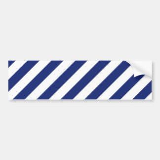 Navy Blue and White Diagonal Stripes Pattern Bumper Sticker