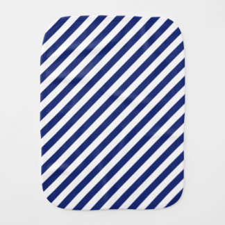Navy Blue and White Diagonal Stripes Pattern Burp Cloth