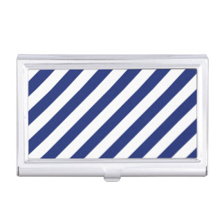 Navy Blue and White Diagonal Stripes Pattern Business Card Holder