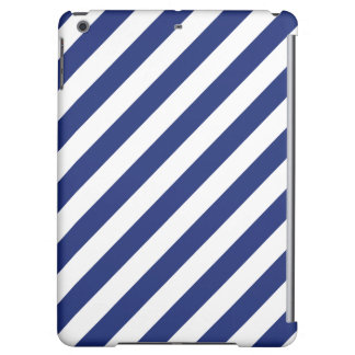 Navy Blue and White Diagonal Stripes Pattern Case For iPad Air