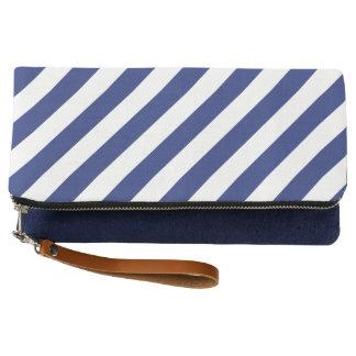 Navy Blue and White Diagonal Stripes Pattern Clutch