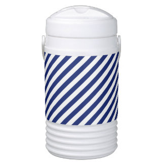 Navy Blue and White Diagonal Stripes Pattern Cooler