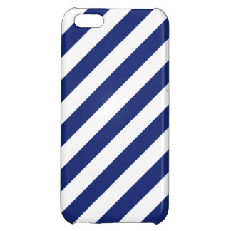 Navy Blue and White Diagonal Stripes Pattern Cover For iPhone 5C