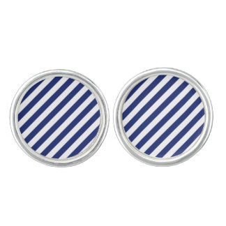 Navy Blue and White Diagonal Stripes Pattern Cufflinks