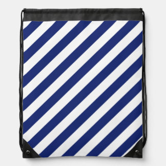 Navy Blue and White Diagonal Stripes Pattern Drawstring Bag