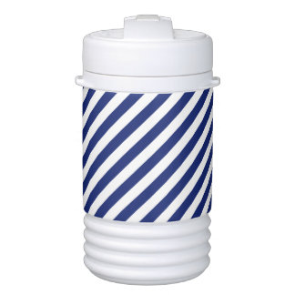 Navy Blue and White Diagonal Stripes Pattern Drinks Cooler
