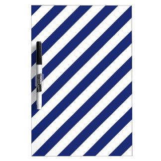 Navy Blue and White Diagonal Stripes Pattern Dry Erase Board