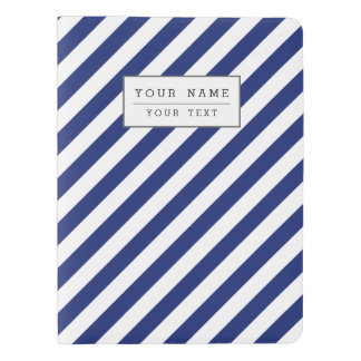 Navy Blue and White Diagonal Stripes Pattern Extra Large Moleskine Notebook