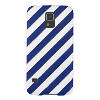 Navy Blue and White Diagonal Stripes Pattern Galaxy S5 Case