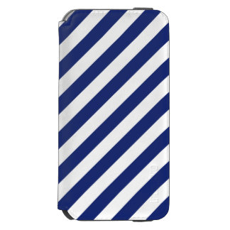 Navy Blue and White Diagonal Stripes Pattern Incipio Watson™ iPhone 6 Wallet Case