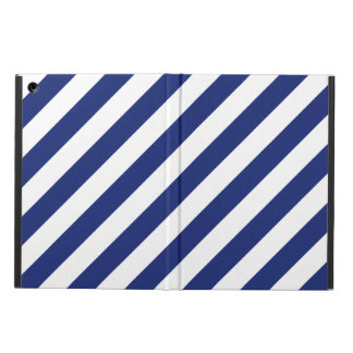 Navy Blue and White Diagonal Stripes Pattern iPad Air Cover