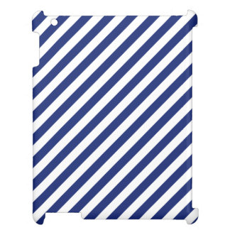 Navy Blue and White Diagonal Stripes Pattern iPad Covers