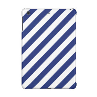 Navy Blue and White Diagonal Stripes Pattern iPad Mini Case