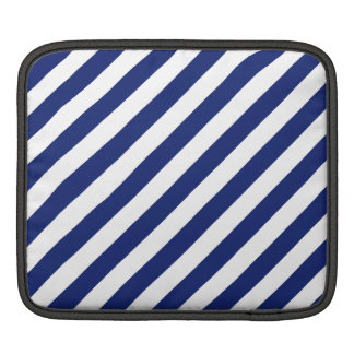 Navy Blue and White Diagonal Stripes Pattern iPad Sleeve