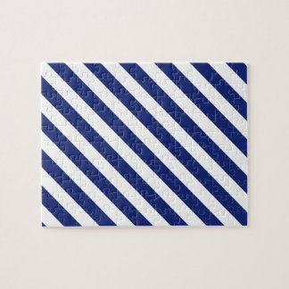 Navy Blue and White Diagonal Stripes Pattern Jigsaw Puzzle