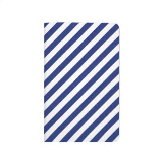 Navy Blue and White Diagonal Stripes Pattern Journal