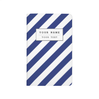 Navy Blue and White Diagonal Stripes Pattern Journal