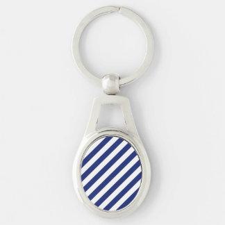 Navy Blue and White Diagonal Stripes Pattern Keychain