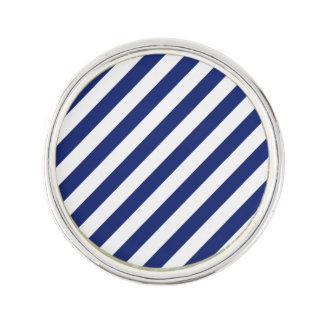 Navy Blue and White Diagonal Stripes Pattern Lapel Pin