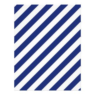 Navy Blue and White Diagonal Stripes Pattern Letterhead