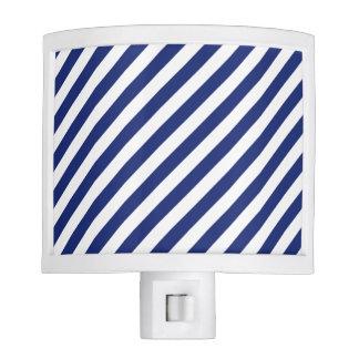 Navy Blue and White Diagonal Stripes Pattern Nite Lite