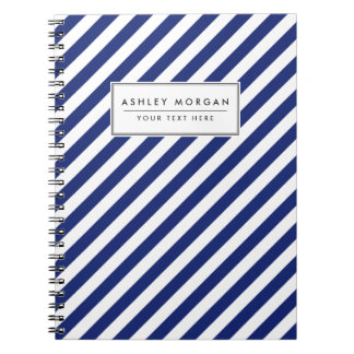 Navy Blue and White Diagonal Stripes Pattern Notebook
