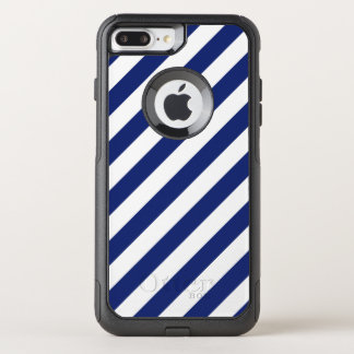 Navy Blue and White Diagonal Stripes Pattern OtterBox Commuter iPhone 8 Plus/7 Plus Case