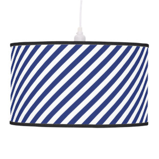 Navy Blue and White Diagonal Stripes Pattern Pendant Lamp