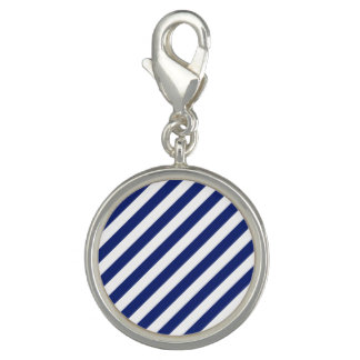 Navy Blue and White Diagonal Stripes Pattern Photo Charms