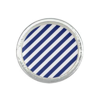 Navy Blue and White Diagonal Stripes Pattern Photo Ring
