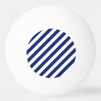 Navy Blue and White Diagonal Stripes Pattern Ping Pong Ball